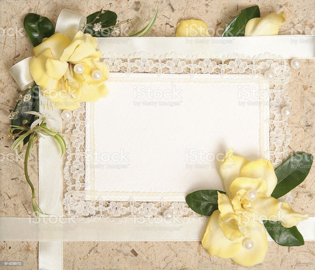paper blank with flowers design stock photo
