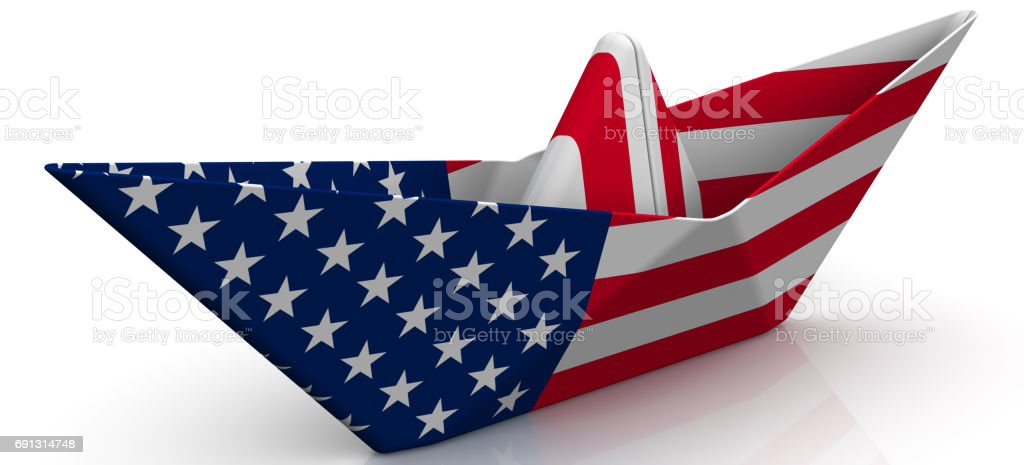 Paper boat from the USA flag stock photo