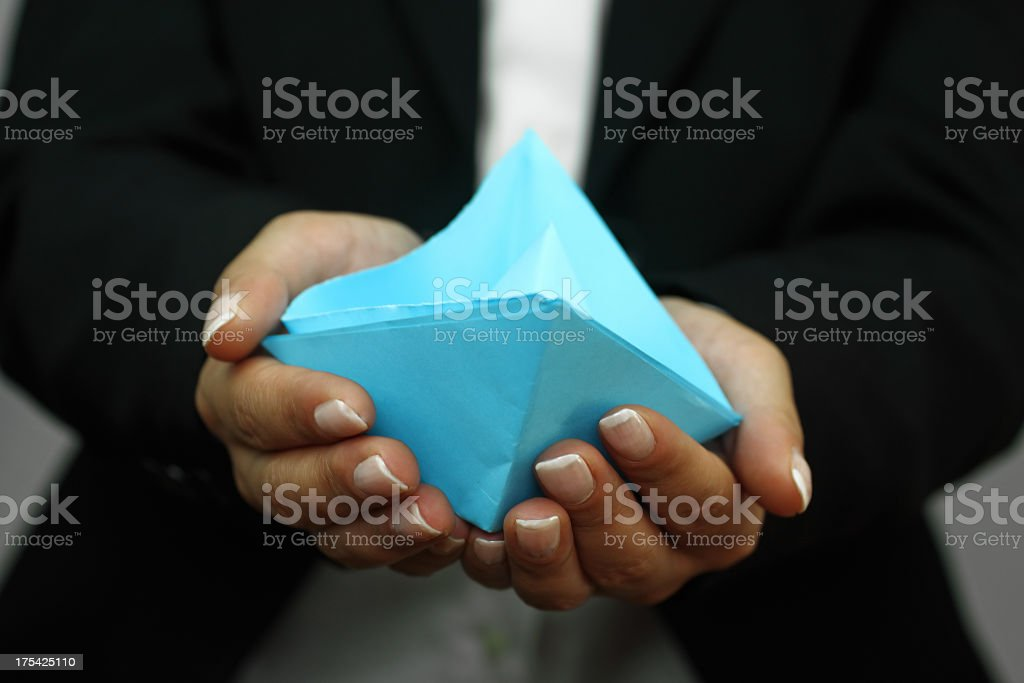 Paper boat on the hands royalty-free stock photo