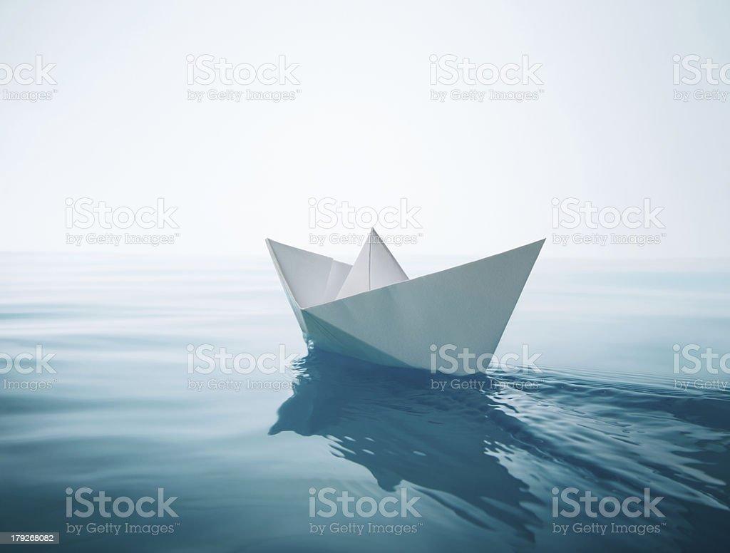 paper boat sailing royalty-free stock photo