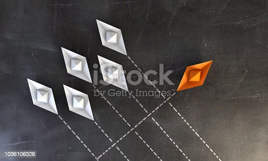 White paper boats going same direction, the orange one going to different direction. ( 3d render )
