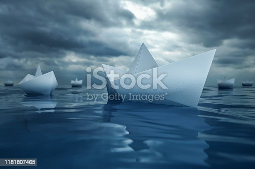 Paper Boats on Sea , 3d render
