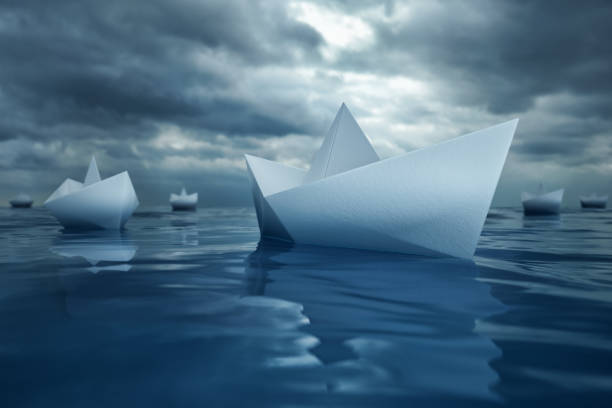 Paper Boats on Sea stock photo
