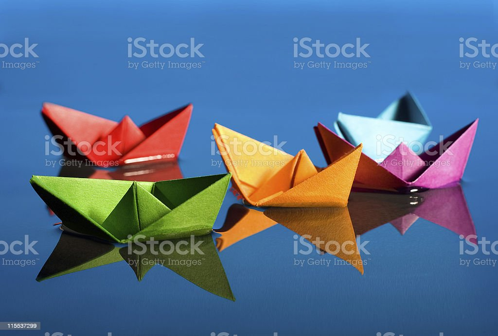 paper boats stock photo