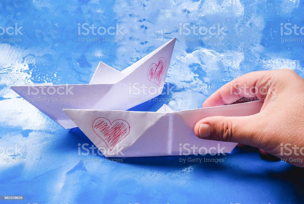 Paper boats with hearts - Royalty-free Abstract Stock Photo