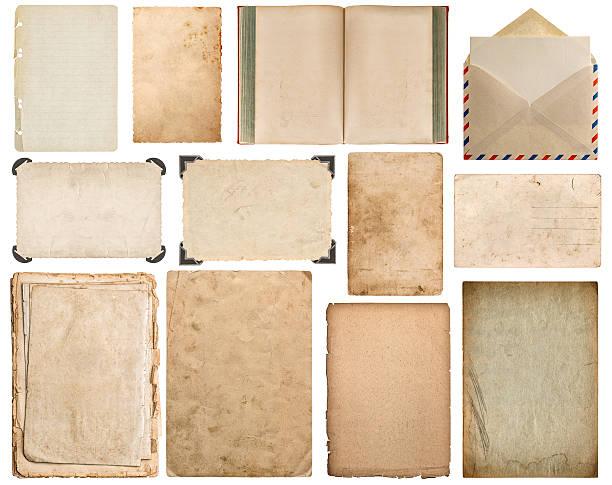 carta, libro, busta, cartone, cornice d'angolo - pergamena materiale cartaceo foto e immagini stock