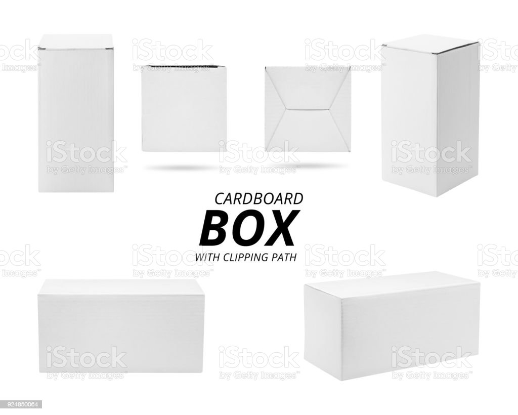 Paper box isolated on white background. Template of cardboard box for your design. ( Clipping path ) stock photo