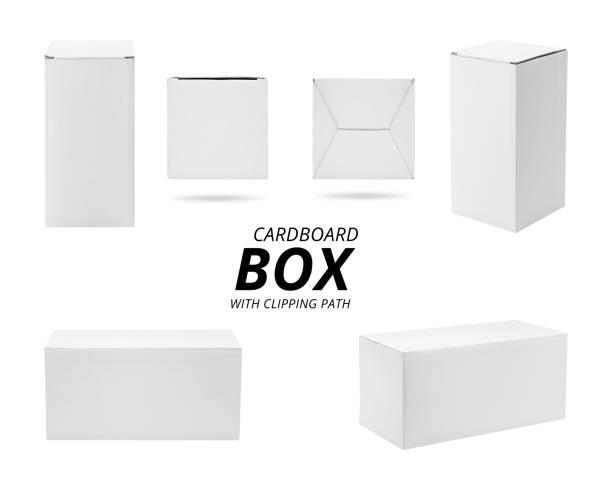 papier box isoliert auf weißem hintergrund. vorlage der karton für ihr design. (clipping-pfad) - kartonschachteln stock-fotos und bilder