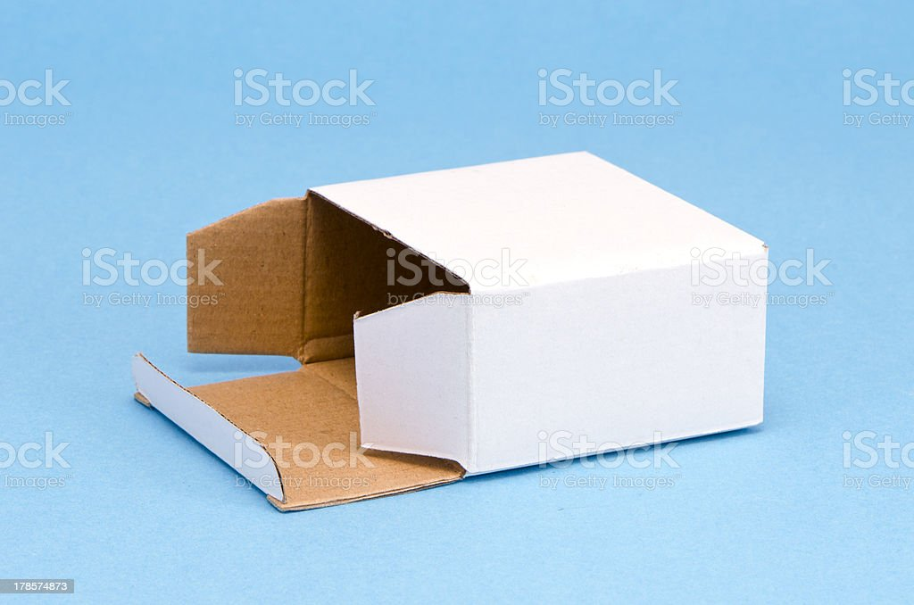 paper  box on azure background royalty-free stock photo