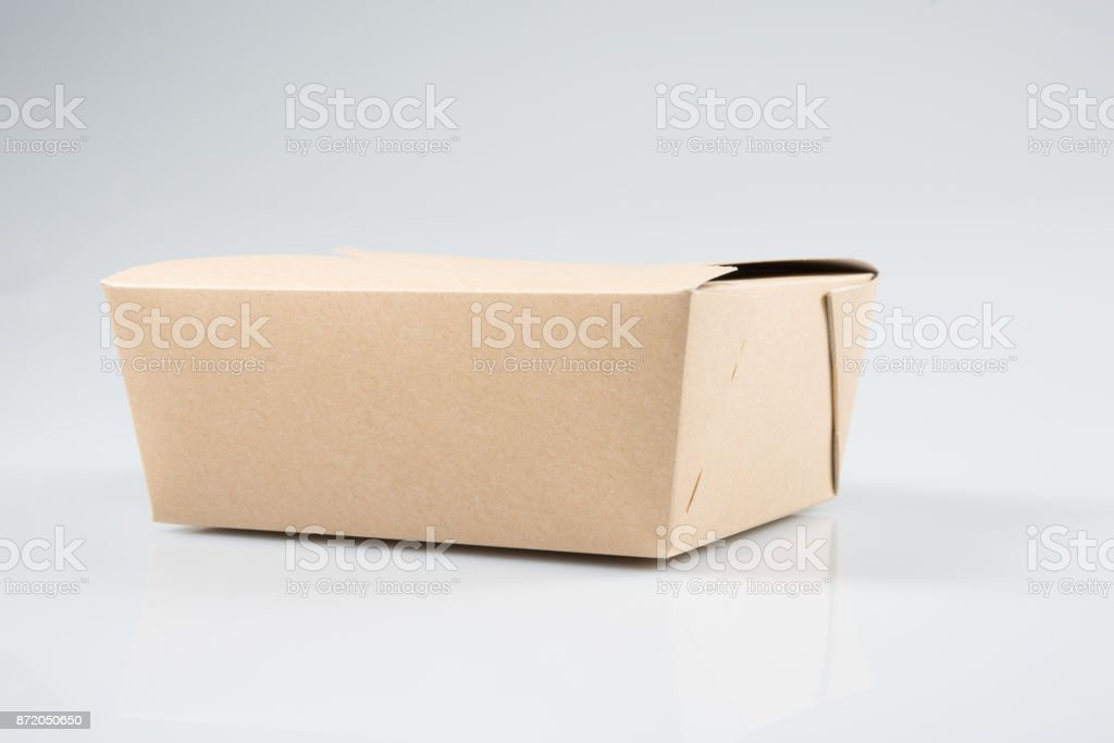paper box takeaway Chinese restaurant take-out box isolated on white background stock photo