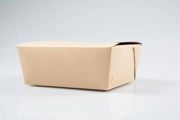paper box takeaway chinese restaurant take-out box isolated on white background - karton zbiornik zdjęcia i obrazy z banku zdjęć