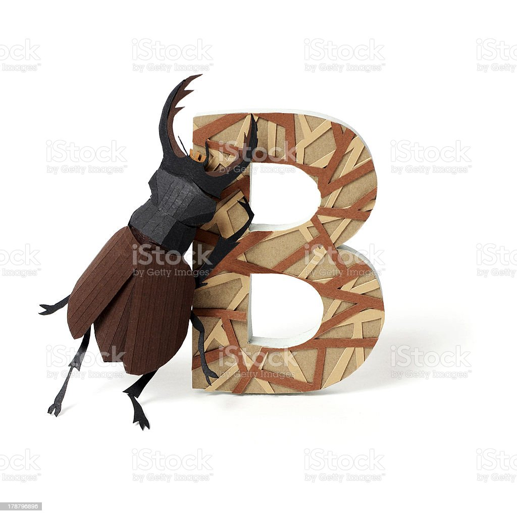 Paper bug and B letter royalty-free stock photo