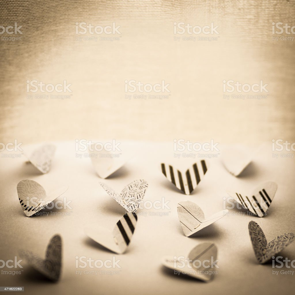 Paper Butterfly Hearts stock photo