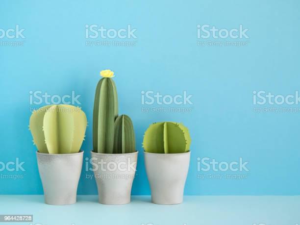 Foto de Cactos De Papel Azul e mais fotos de stock de Arte