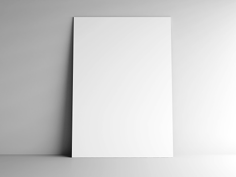 White vertical paper card on grey background, three-dimensional rendering, 3D illustration