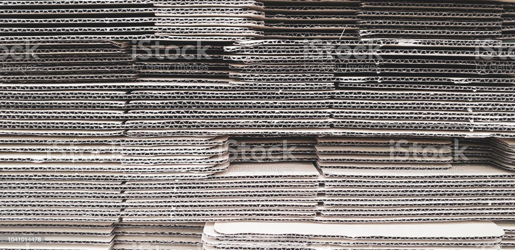 Paper cardboard parcel box pile stacked. Shipping industry and...