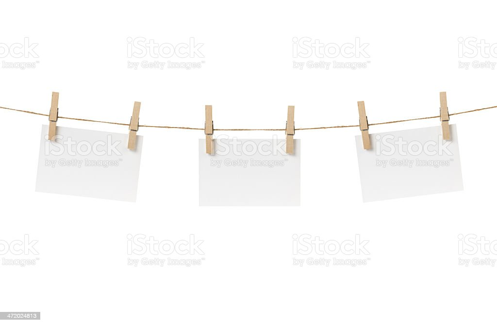 paper cards hanging on the rope stock photo