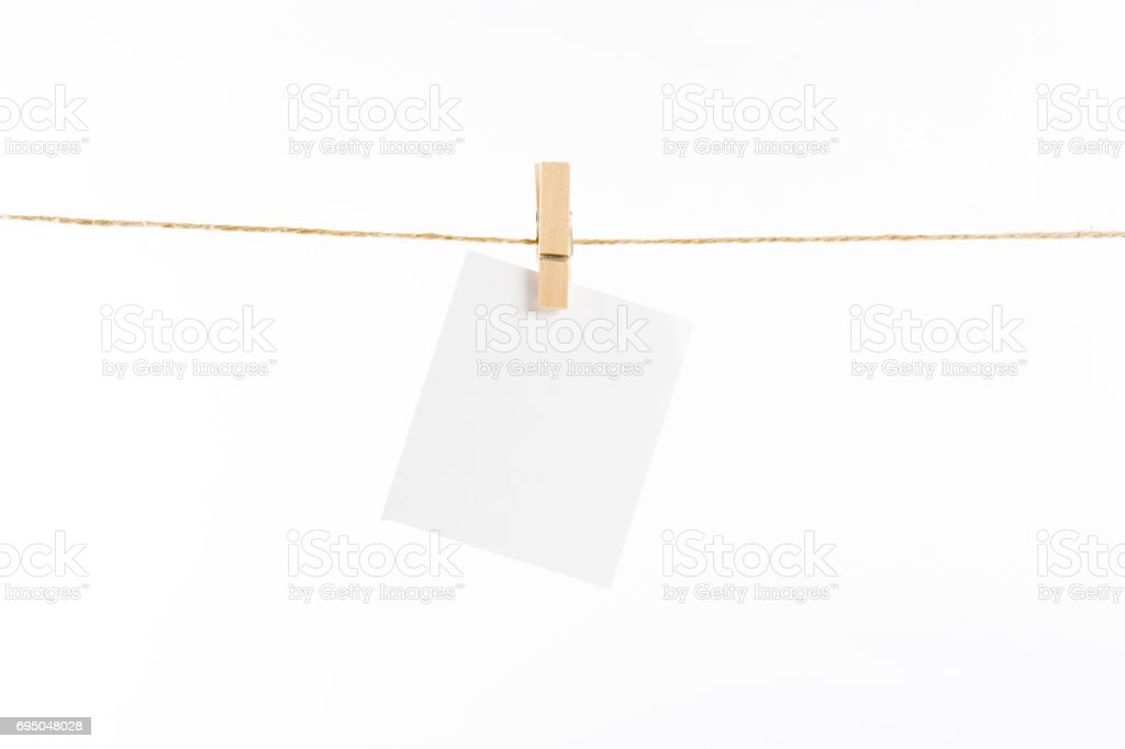 paper cards hanging rope isolated stock photo