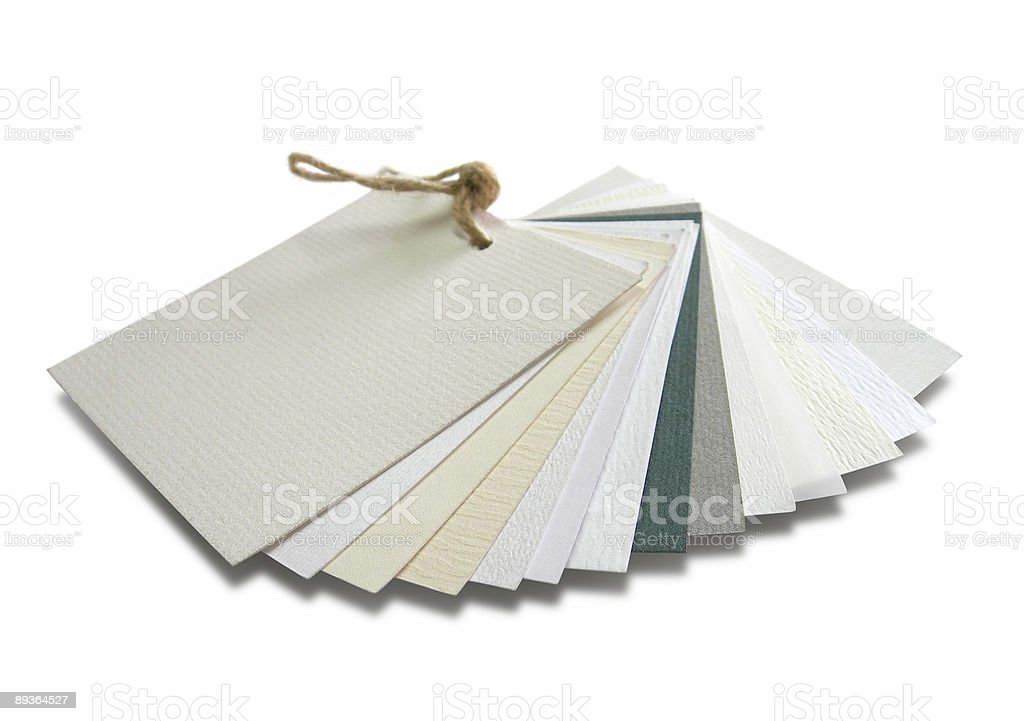 Paper catalogue with samples - various textures stock photo