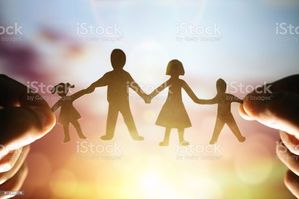 Paper chain family stock photo