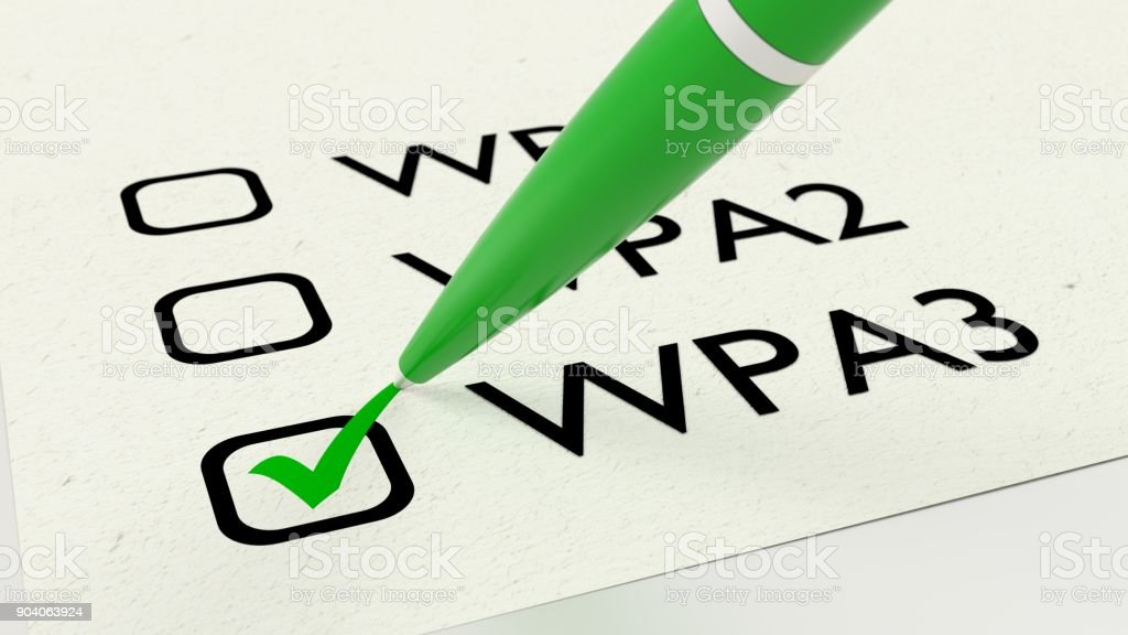 Paper checklist with the different wireless security standards including WPA3 stock photo