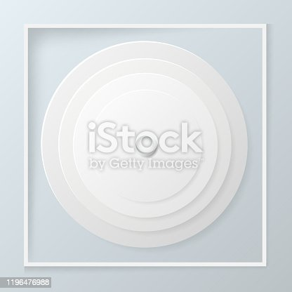 Paper circle banner with drop shadow and white rectangular frame On a blue background. Vector illustration