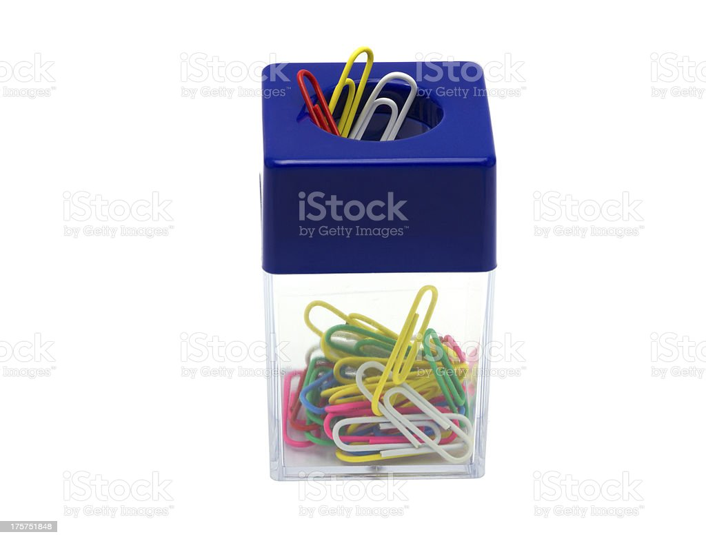 Paper clip box with a magnet royalty-free stock photo