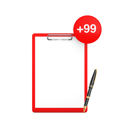 Paper Clipboard and Pen with Order, Wish or Shopping List Tag on a white background. 3d Rendering