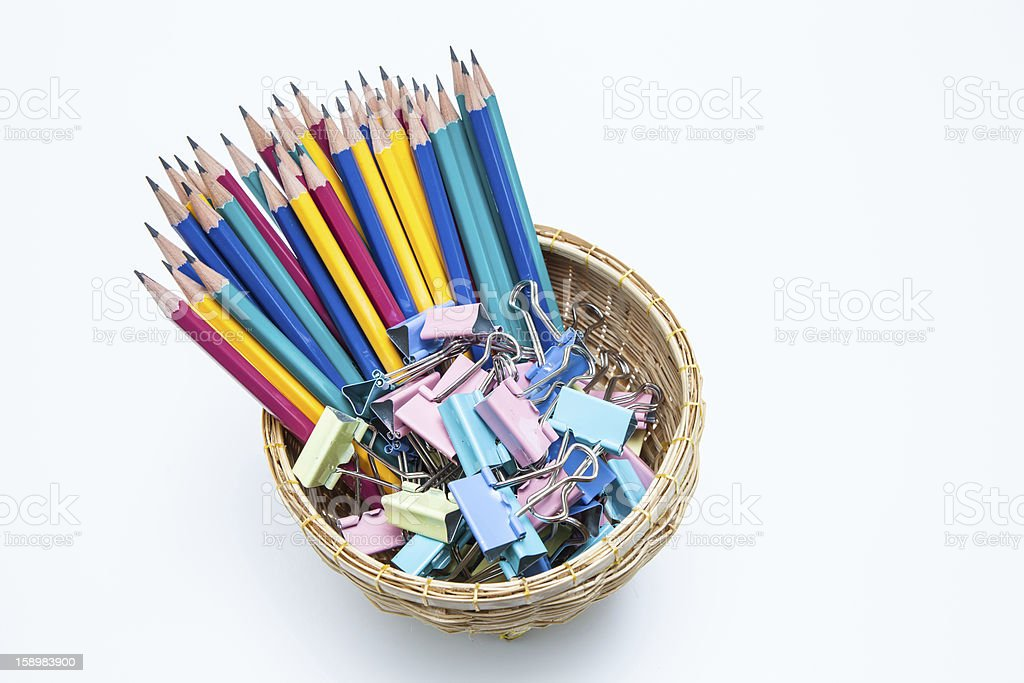 Paper clips and pencils royalty-free stock photo