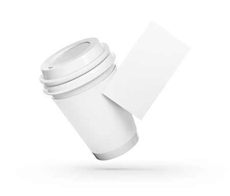 Paper coffee cup and card mockup
