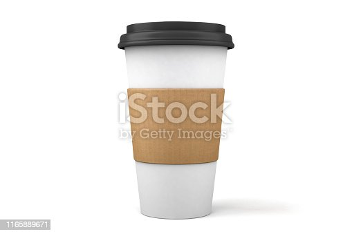 A 3D paper to go coffee cup and plastic lid isolated on a white background with clipping path.