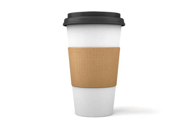 3d 紙咖啡杯和白色上隔離的蓋子 - 杯 個照片及圖片檔