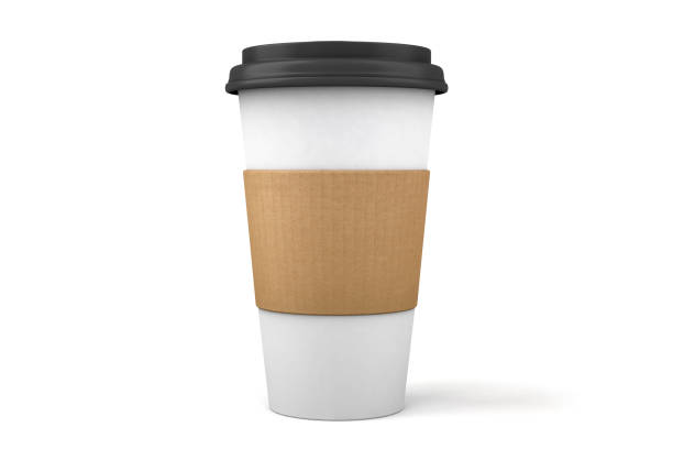 3D Paper Coffee Cup and Lid Isolated on White A 3D paper to go coffee cup and plastic lid isolated on a white background with clipping path. coffee cup stock pictures, royalty-free photos & images