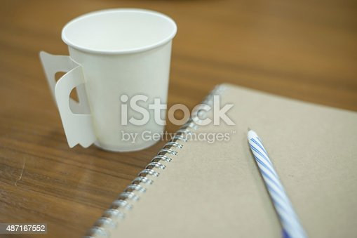 621843818istockphoto paper coffee cup with note 487167552