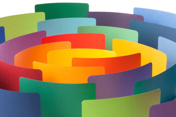 Paper color samples arranged in circle. Conceptual photography. Paper color samples arranged in circle. crisscross stock pictures, royalty-free photos & images