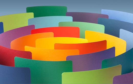 688372024 istock photo Paper color samples arranged in circle. 1252837350