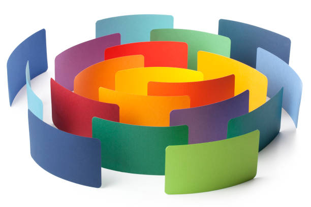 Paper color samples arranged in circle stock photo