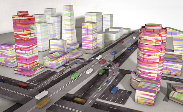 paper colorful city with machines stock photo