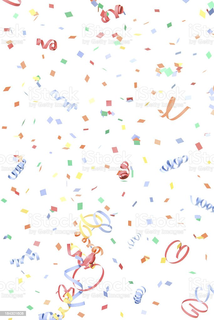 Paper Confetti and Streamers Falling, Isolated on White stock photo