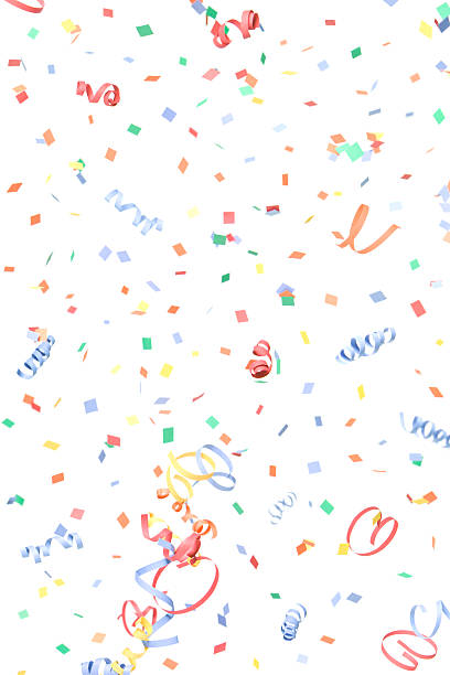 paper confetti and streamers falling, isolated on white - blue yellow band bildbanksfoton och bilder