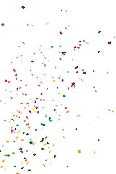 paper confetti falling, isolated on white - confetti stockfoto's en -beelden