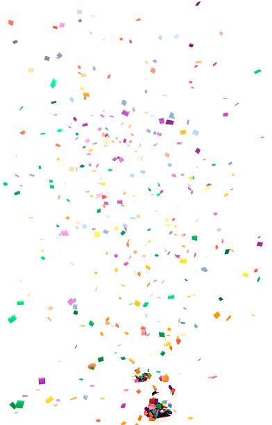 carta coriandoli cadendo, isolato su bianco - coriandoli e stelle filanti foto e immagini stock