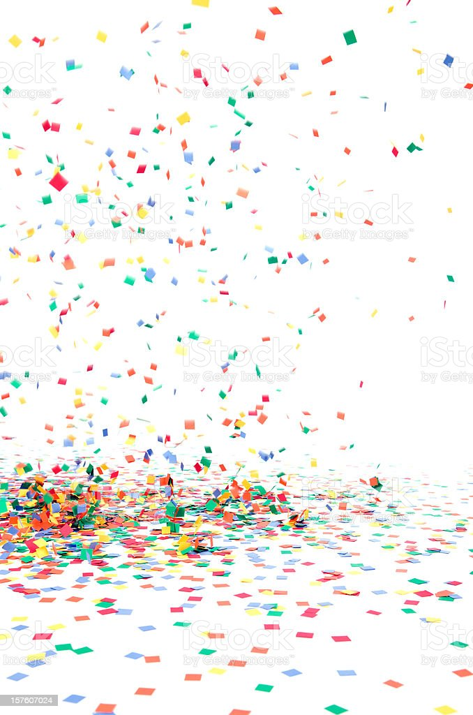 Paper Confetti Falling to Floor, Isolated on White stock photo
