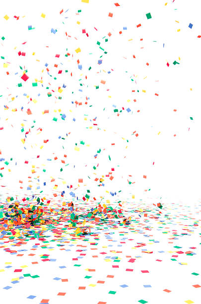 paper confetti falling to floor, isolated on white - confetti stock pictures, royalty-free photos & images