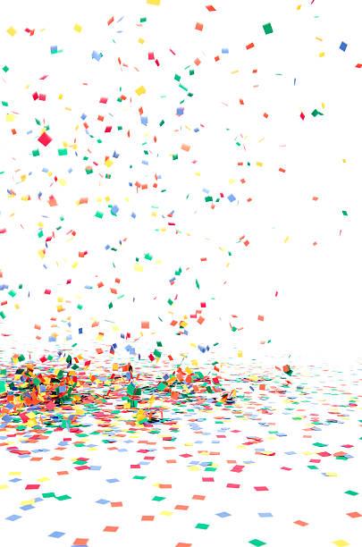 paper confetti falling to floor, isolated on white - confetti stockfoto's en -beelden