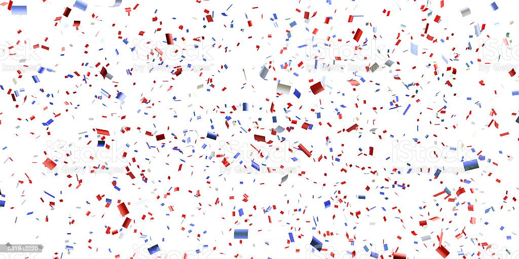 Paper Confetti in American Flag Color Falling stock photo