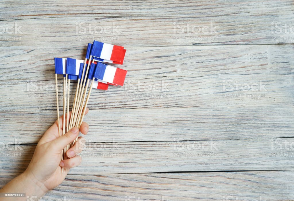 Paper Confetti Of The National Colors Of France Whitebluered On A