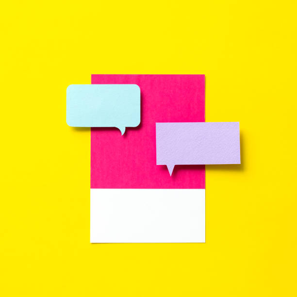 Paper craft art of speech bubble icon stock photo