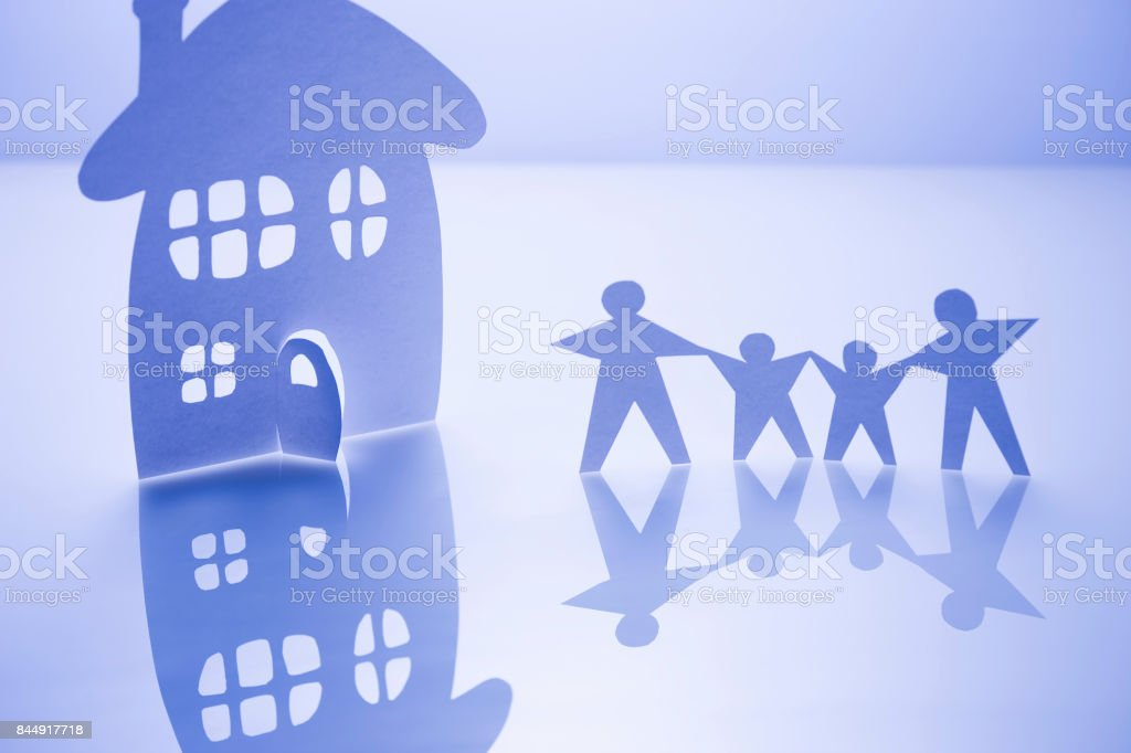 Paper craft family stock photo