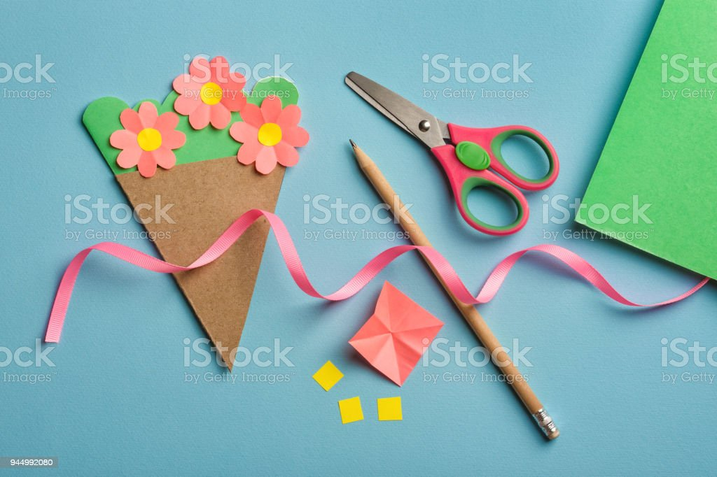 Paper Crafts For Mothers Day 8 March Or Birthday Small Child Doing A